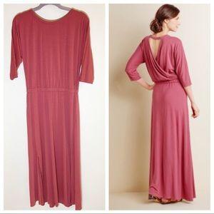 Soft Surroundings Maxi Slit Dress Open Back